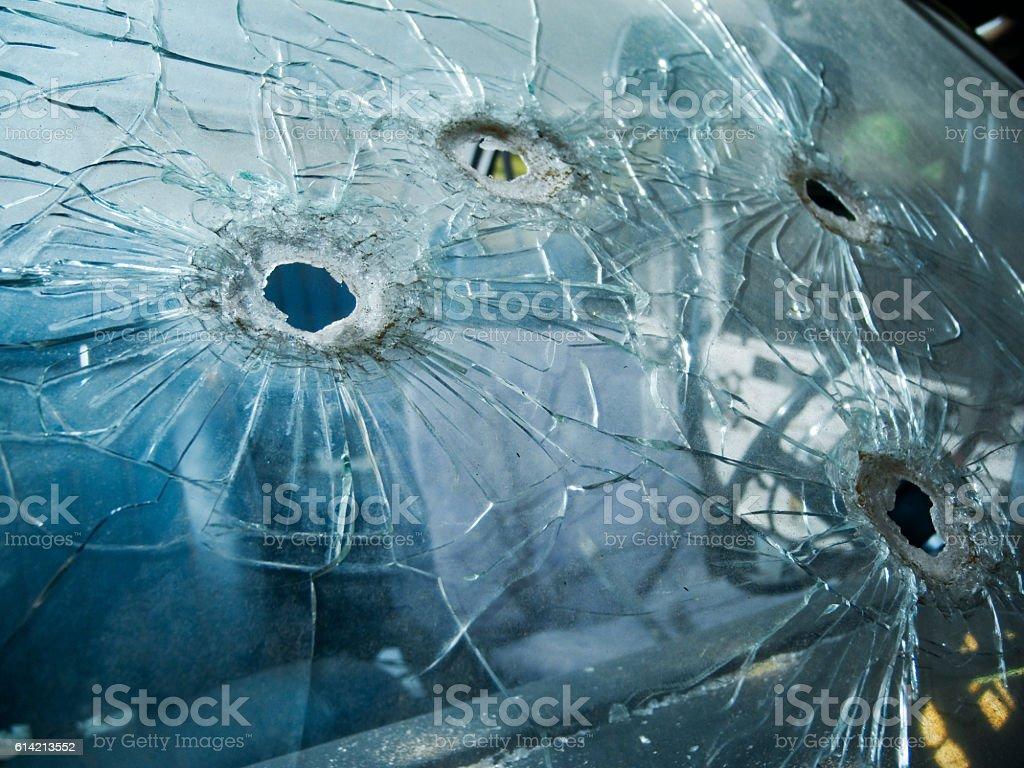 bullet holes stock photo