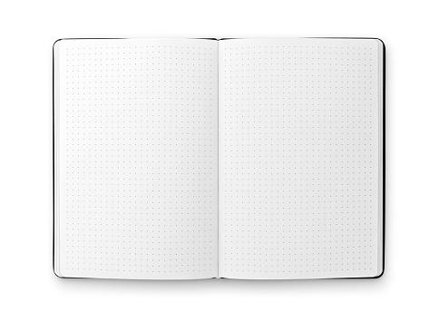 Blank open bullet journal isolated on white