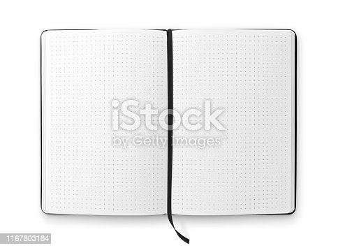 Blank open bullet journal with black ribbon bookmark isolated on white