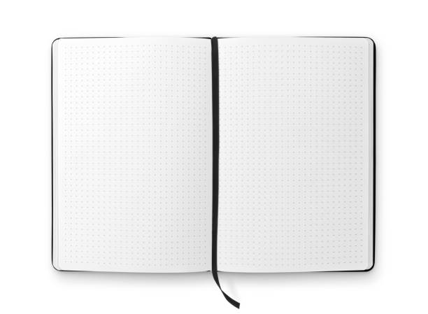 bullet journal with ribbon bookmark - proiettile foto e immagini stock