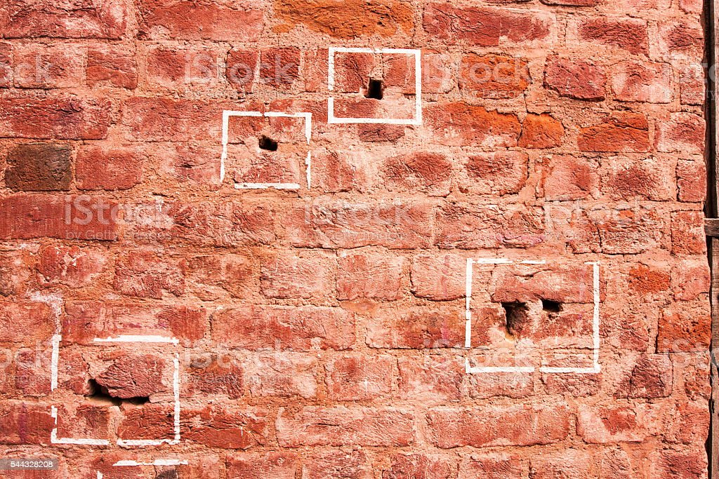 Bullet marks of Jallianwala Bagh massacre,Amritsar, Punjab, India stock photo