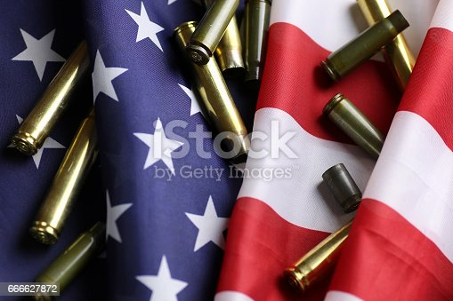 istock bullet on the USA flag 666627872