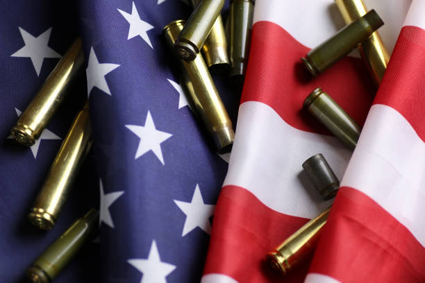 bullet on the USA flag stock photo