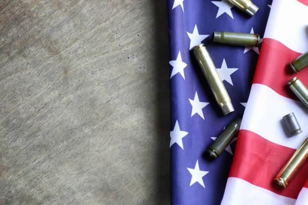 bullet on the USA flag stock photo