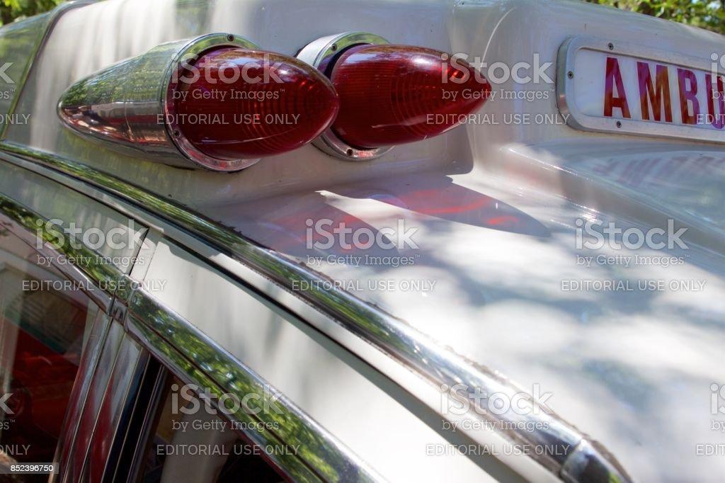 Bullet red flashers on a vintage Pontiac Bonneville ambulance stock photo
