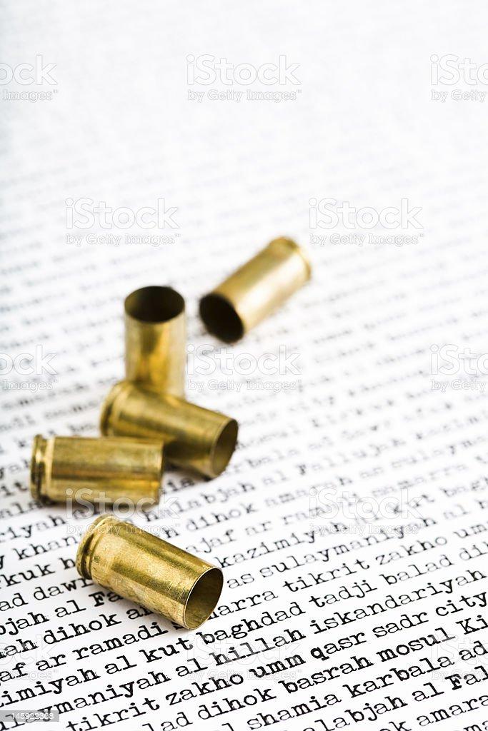 bullet shells over Iraq stock photo