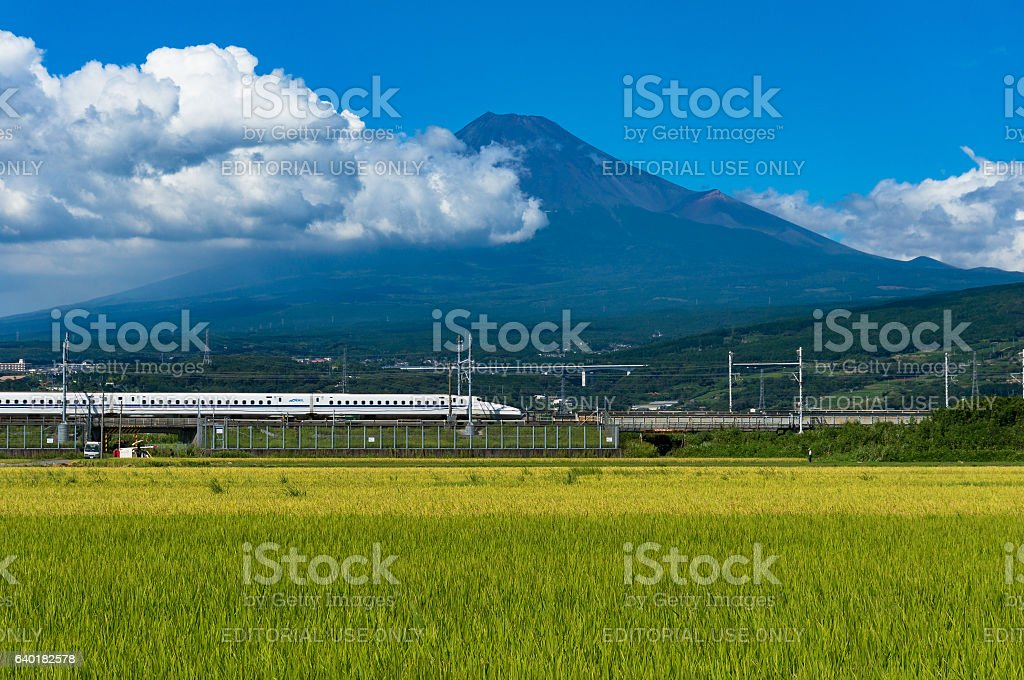 Bullet train, Shinkansen travel below Mt. Fuji in Japan stock photo