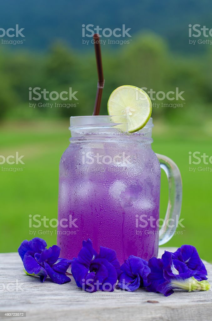 Bulletfly pea (Asian pigeonwings) juice stock photo