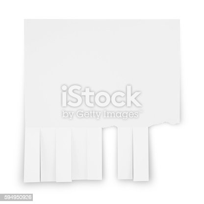Bulletin Board Ad with torn off phone number strips isolated on white (excluding the shadow)