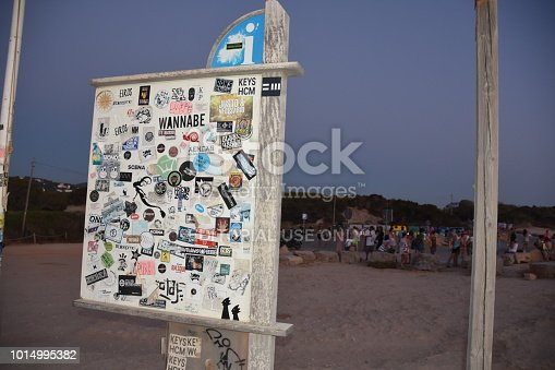 Ibiza ,Spain: July 31 2018,Bulletin Board  at  Cala Conta Beach  Ibiza Spain. Location : 07830 Sant Josep de sa Talaia, Balearic Islands, Spain. Ibiza is a small island in the archipelago of the Balearic Islands, Ibiza is known for its nightlife and its desolate beaches . The picture shows a bulletin board near the beach