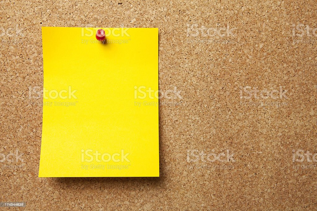 Bulletin Board with Blank Note royalty-free stock photo