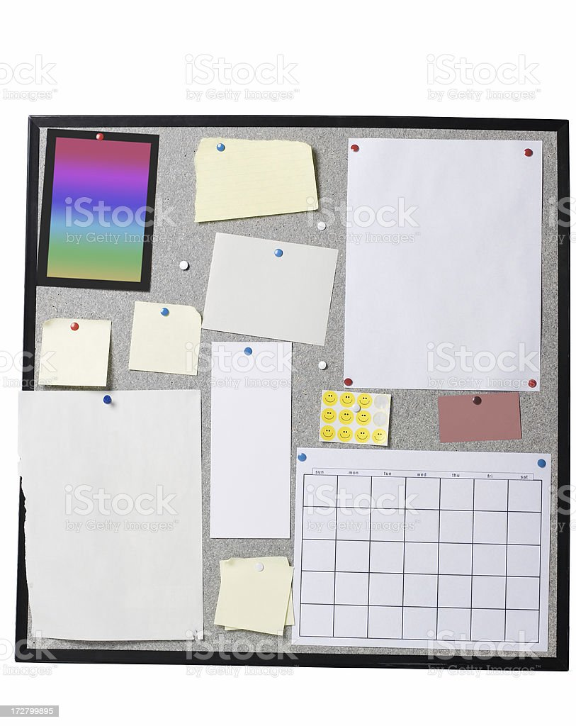 Bulletin Board with Blank Paper Memos Smiley Faces and Calendar royalty-free stock photo