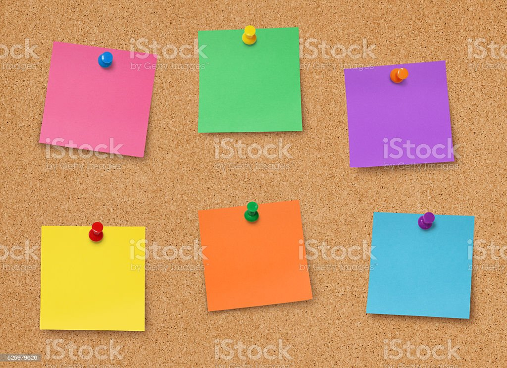 Bulletin board with notes stock photo