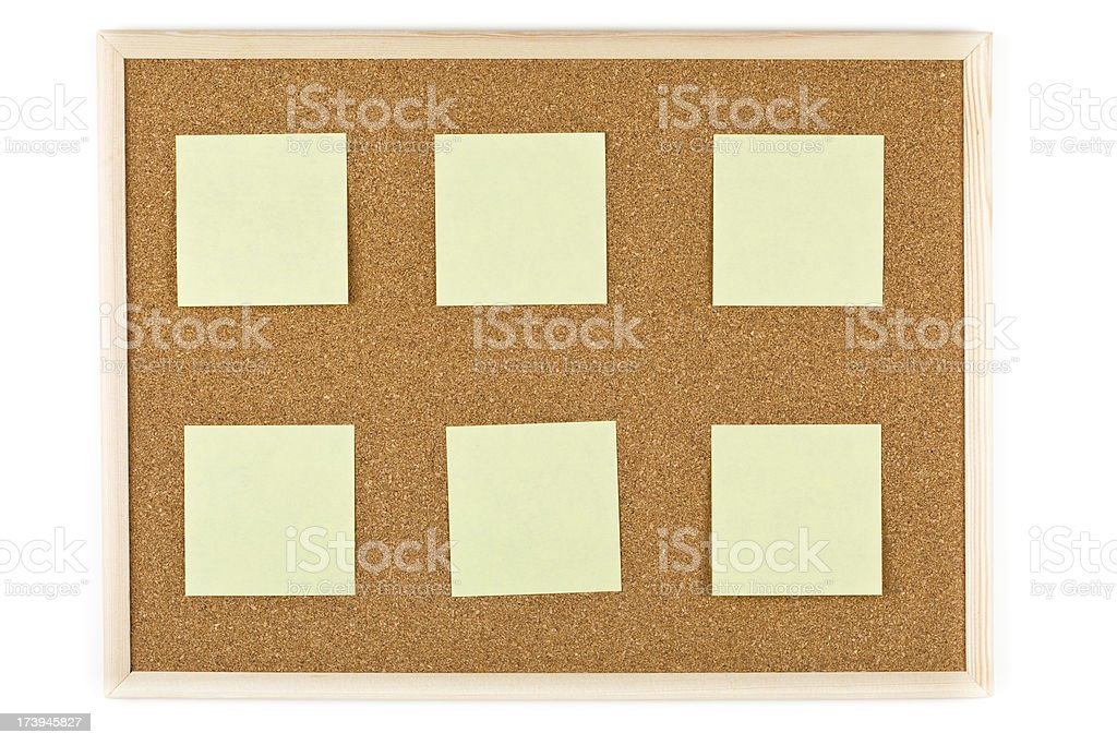 XXXL Bulleting board with post-its isolated royalty-free stock photo