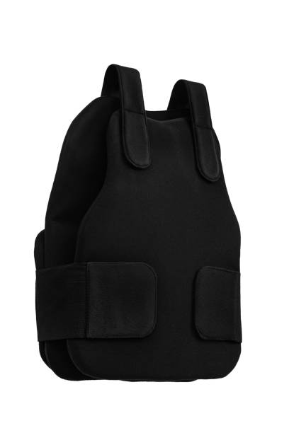 bulletproof vest vest isolated on white background - kevlar weste stock-fotos und bilder