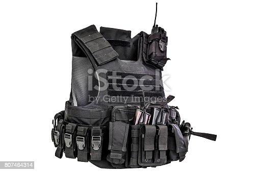 A bulletproof vest made from high-tech fabric with quick connection system, close up, isolated