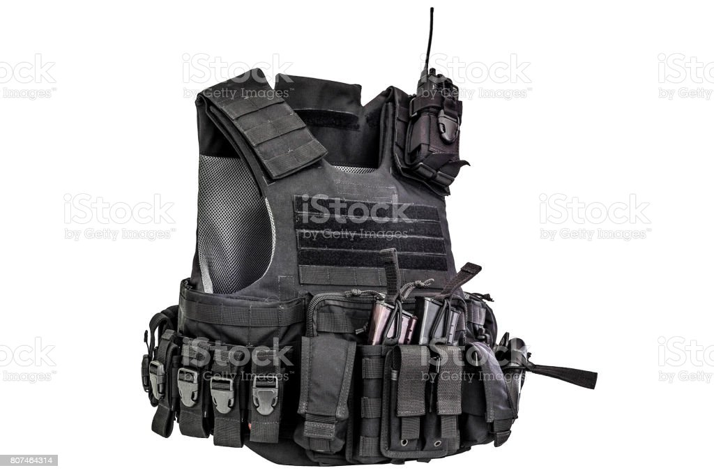 A bulletproof vest made from high-tech fabric with quick connection system, close up, isolated stock photo