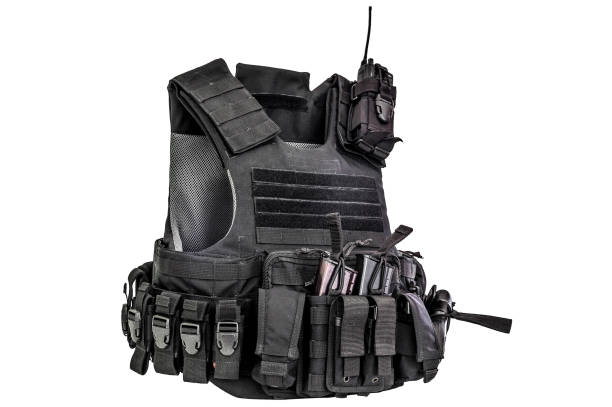 a bulletproof vest made from high-tech fabric with quick connection system, close up, isolated - indumento corazzato foto e immagini stock