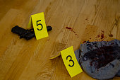 Bullet casings. bloody clothes, and gun next to markers at crime scene