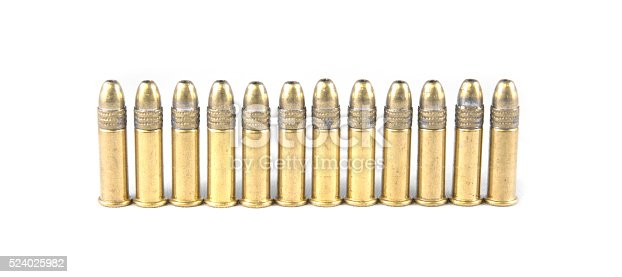 High quality bullets on a white isolated background