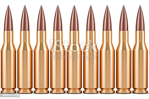 istock Bullets in a row, 3D rendering isolated on white background 859452428
