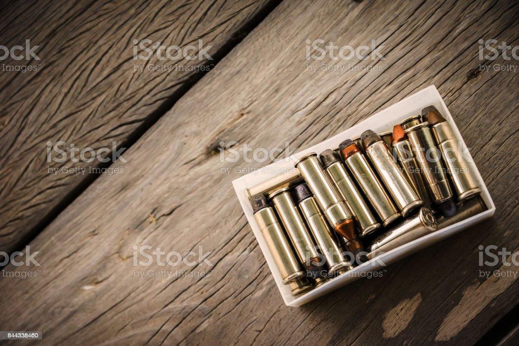 bullets in box-set stock photo