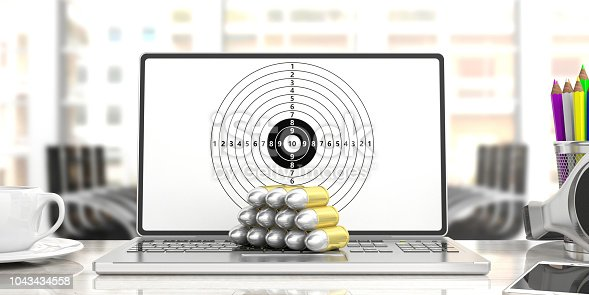 1043434558 istock photo Bullets on a computer, shooting target on the screen, blur office background. 3d illustration 1043434558