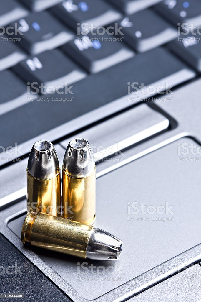 bullets on laptop royalty-free stock photo