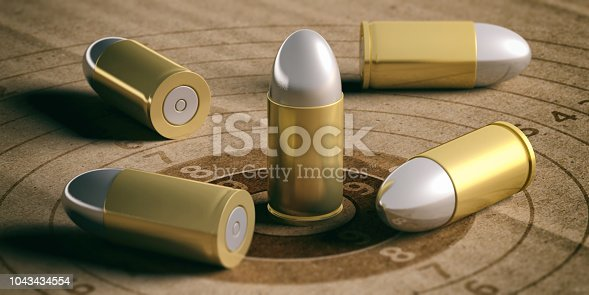 istock Bullets on shooting target, recycling carton paper. 3d illustration 1043434554