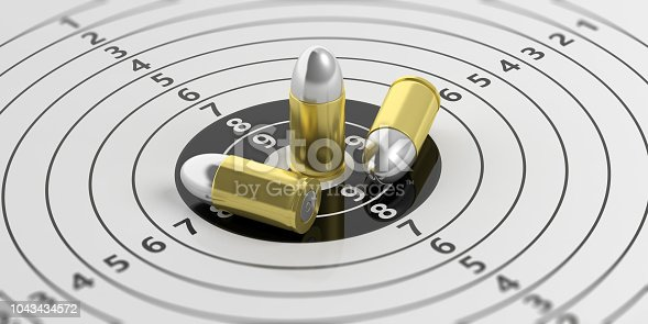 istock Bullets on shooting target with numbers. 3d illustration 1043434572