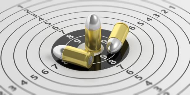 kugeln zu schießen ziel mit zahlen. 3d illustration - target raumgestaltung stock-fotos und bilder