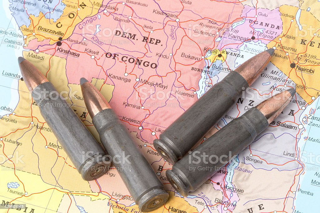 Bullets on the map of Democratic Republic of Congo stock photo