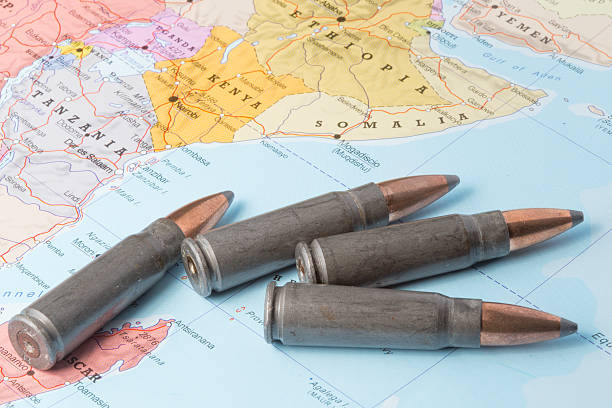 bullets on the map of east africa - horn of africa stock photos and pictures