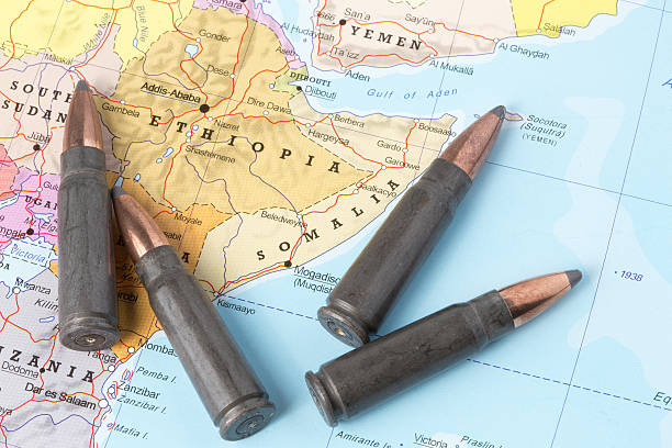 bullets on the map of ethiopia and somalia - horn of africa stock photos and pictures