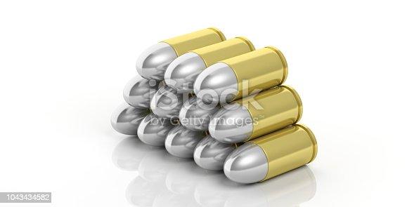 1043434568 istock photo Bullets stack isolated on white background. 3d illustartion 1043434582