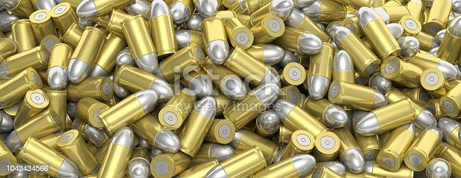1043434568 istock photo Bullets stacked, full background, banner. 3d illustartion 1043434566