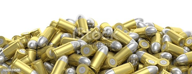 1043434568 istock photo Bullets stacked on white background, banner, copy space. 3d illustartion 1043434586