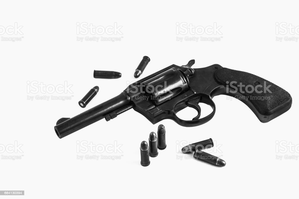 Bullets with the gun isolate background royalty free stockfoto