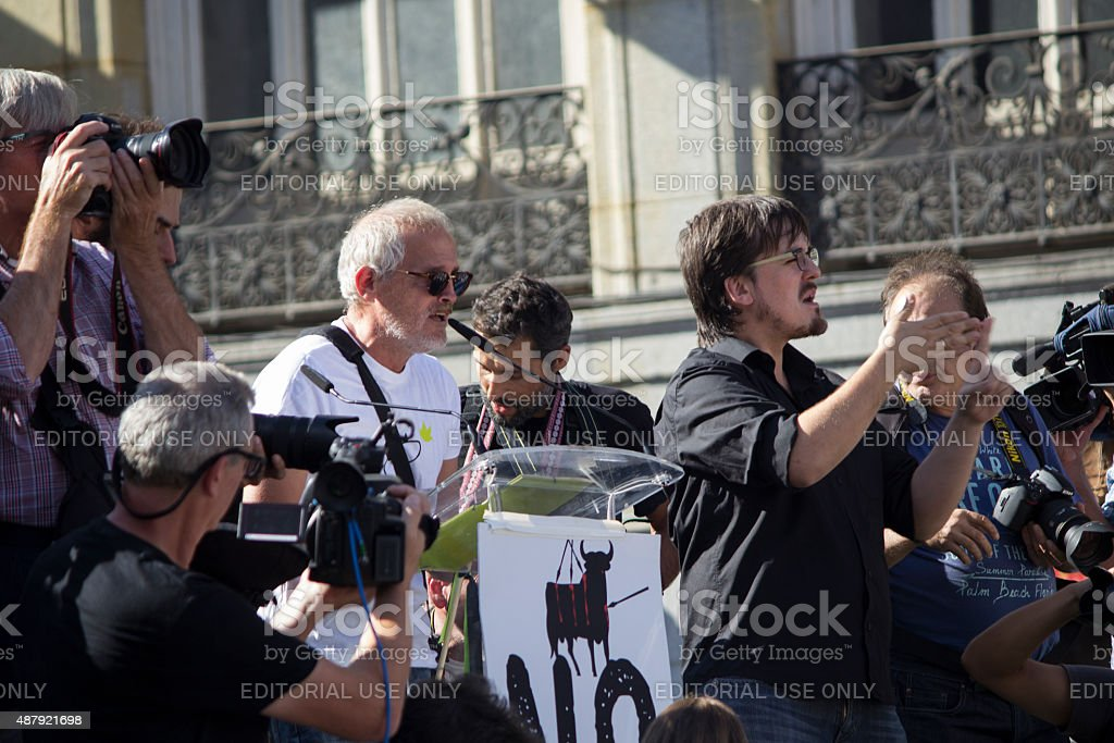 Bullfighting protest against toro de la vega stock photo