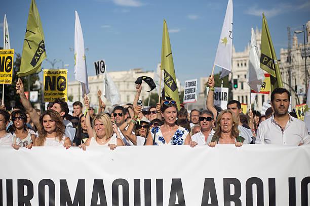 Bullfighting protest in madrid - foto de stock