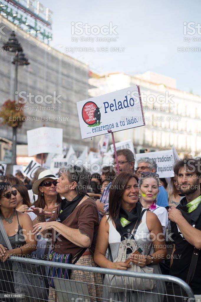 Bullfighting protest in madrid stock photo