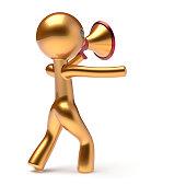 istock Bullhorn man golden character speaking megaphone news 1020206730
