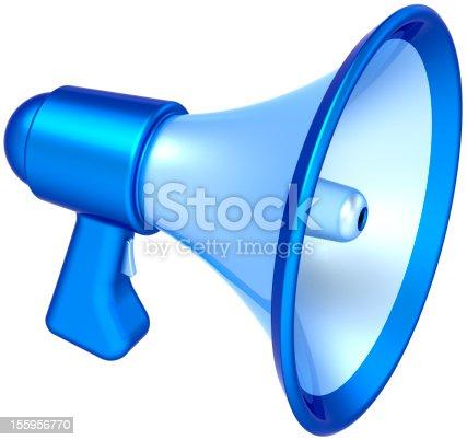 istock Bullhorn megaphone blue loudspeaker communication symbol 155956770