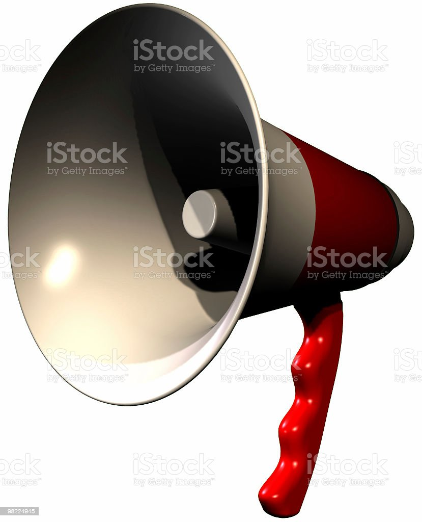 Bullhorn (3D, Clipping Path) royalty-free stock photo