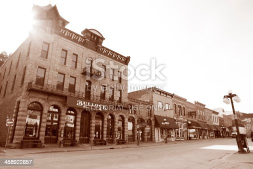 Deadwood, South Dakota, United States - March 9, 2012. Bullock Hotel in Deadwood, South Dakota. The Bullock Hotel was started Seth Bullock and Sol Star in the 1890s, after their hardware store burned to the ground.