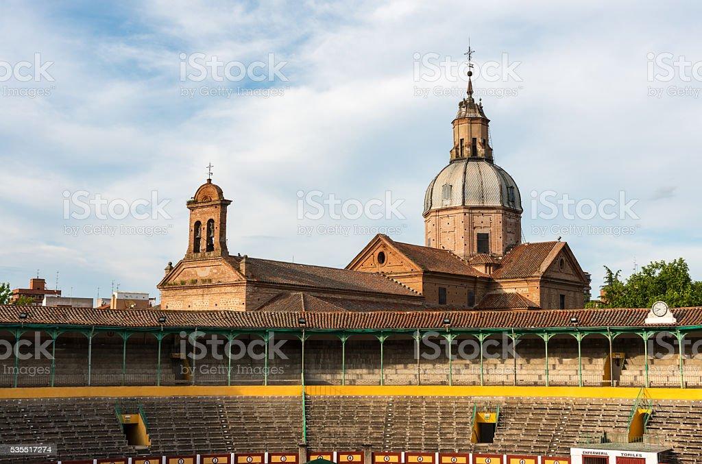 Bullring and Basilica Nuestra Señora del Prado, Talavera stock photo