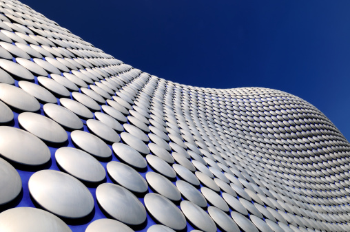 A wide angle view of the very modern and iconic Bullring building in Birmingham, England. XL image size.