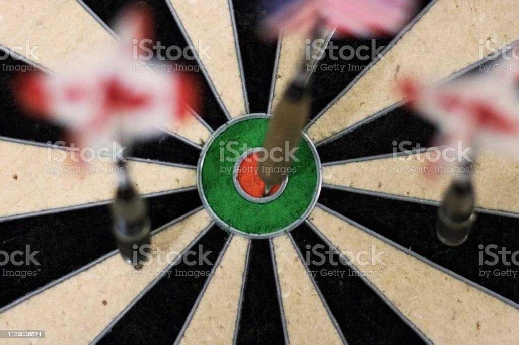 Bulls eye in dartboard.