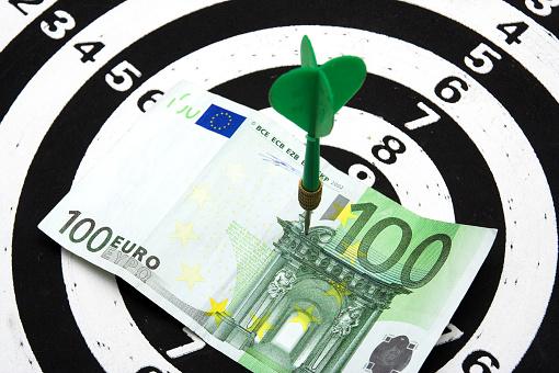 Bulls Eye Hit 100 Euros Stock Photo - Download Image Now