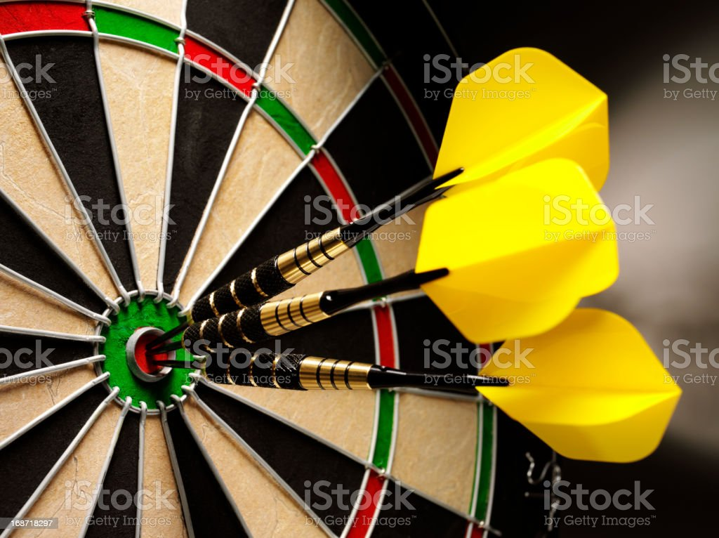 Bulls Eye in a Game of Darts royalty-free stock photo